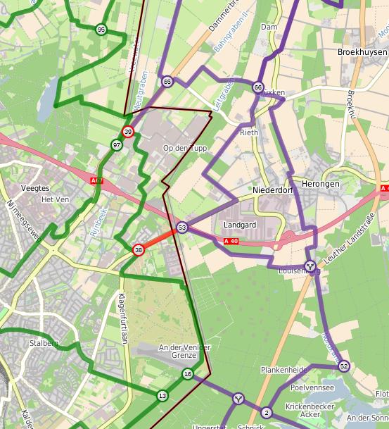 Routewijziging Venlo - Kreis Kleve