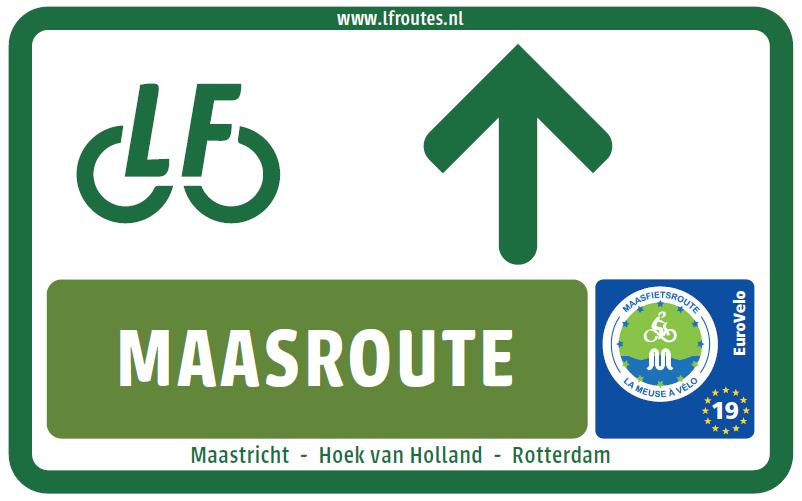 Nieuwe bewegwijzering LF3 Maasfietsroute